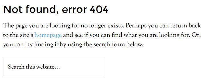 404 seite als standard