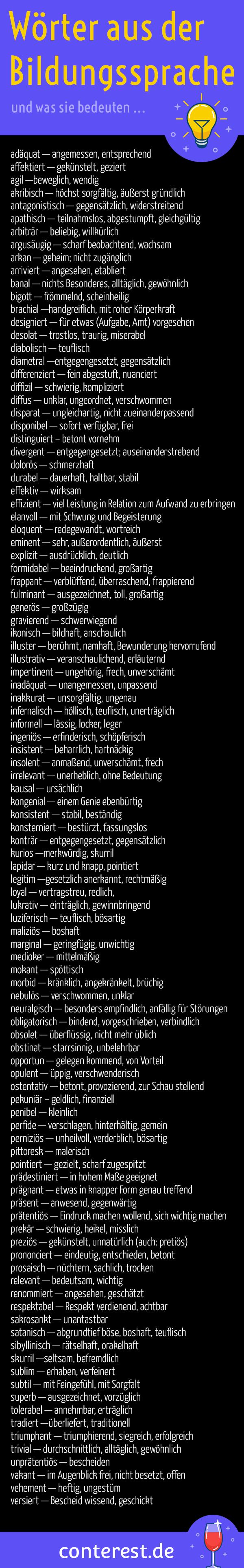 99 Wörter Bildungssprache