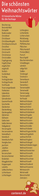 Hier sind die schönsten Wörter für die Adventszeit und das Weihnachtsfest. Himmlische Stimmung für deine Texte.