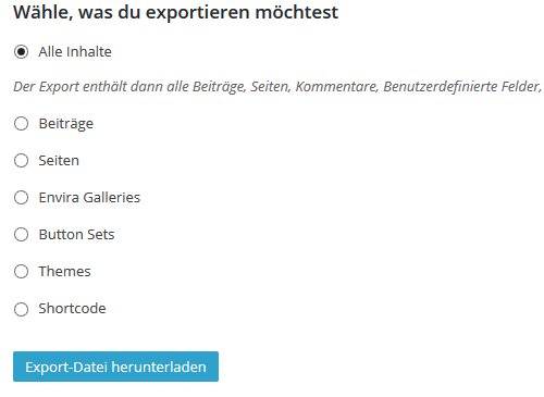 Wordpress Installation Export
